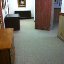 The foyer with its new carpet.