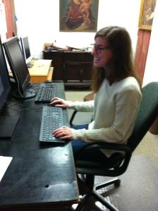 Rachel Hatcher hard at work.
