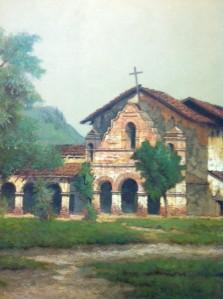 Detail from Deakin painting of Mission San Antonio de Padua.